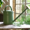 Green Galvanised Watering Can With Brass Detail