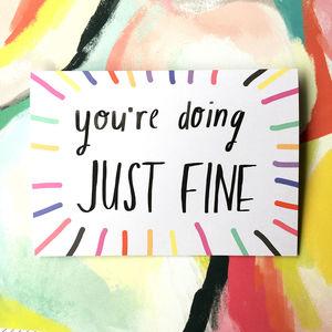 You're Doing Just Fine Card - get well soon cards