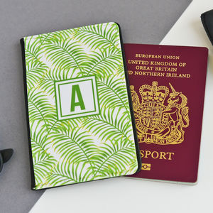 Palm Leaf Personalised Passport Cover - new in fashion