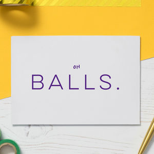 Testicular Cancer Card: 'Oh Balls.' - new in