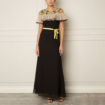 Black Gown With Yellow Detail