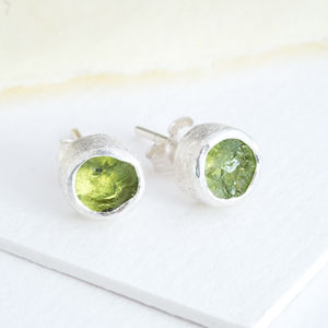 Genuine Peridot August Gemstone Birthstone Studs - birthstone jewellery gifts