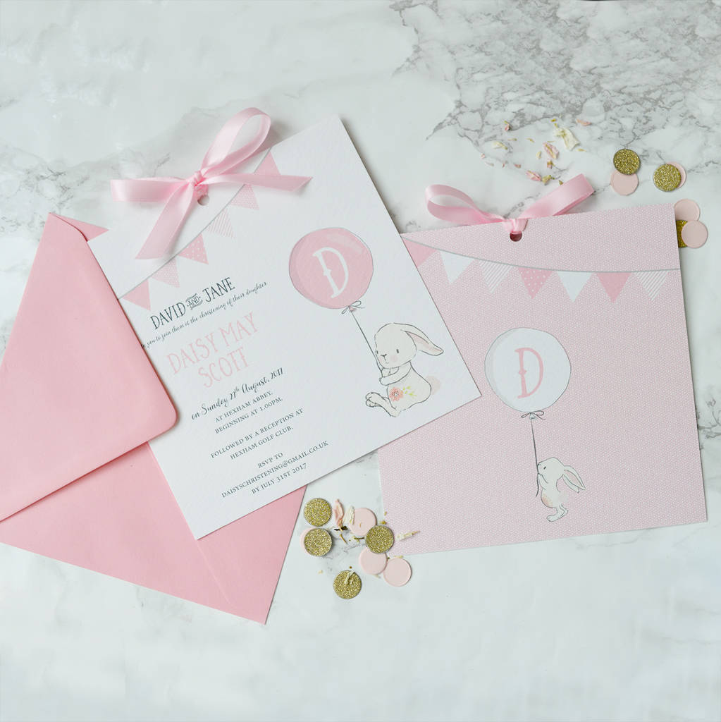 Bunny Christening Invitation