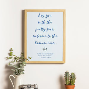 New Baby Lyrics Print