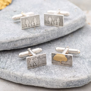 Personalised Sterling Silver Family Tree Cufflinks
