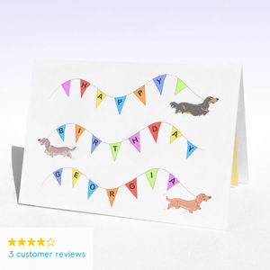 Personalised Dachshund Dog Bunting Birthday Card - birthday cards