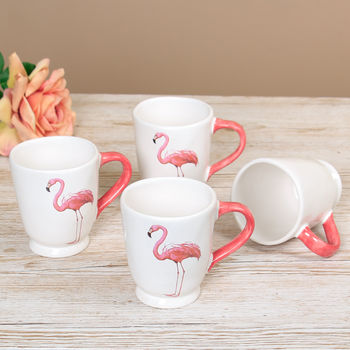 Set Of Four Groovy Pink And White Flamingo Mugs