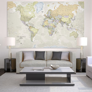 Giant Sized Canvas World Map - map inspired art