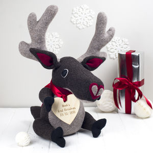 Baby's First Christmas Personalised Soft Toy Reindeer - soft toys & dolls