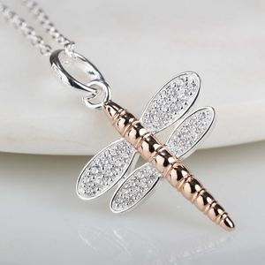 Solid Silver And 14ct Rose Gold Dragonfly Pendant - necklaces & pendants