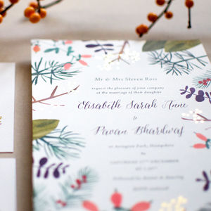 Warm Winter Botanics Wedding Invite Sample