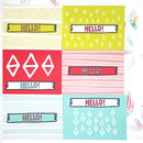 Hello! Patterned Postcard Set Of Six
