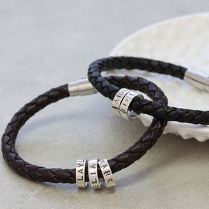 Men's Leather Hoop Bracelet - gifts for him
