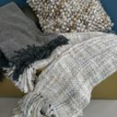 Woven Grey And Sand Throw With Tassels