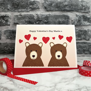 'Bears' Personalised Valentines Card