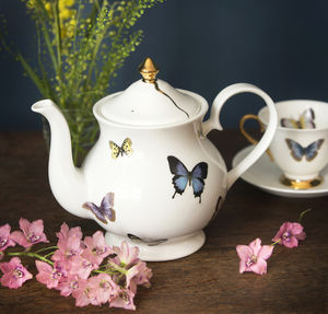 Butterflies Fine Bone China Teapot - kitchen