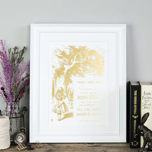 Alice In Wonderland Bonkers Metallic Foil Print - gifts for babies & children sale