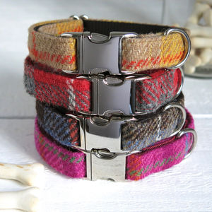 Check Harris Tweed Collar - dog collars