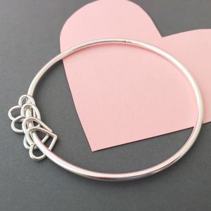 40th Birthday Silver Heart Bangle