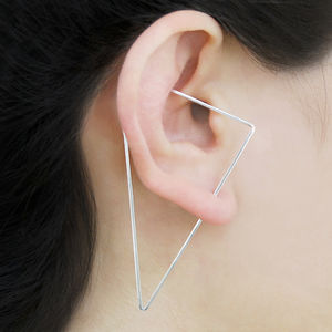 Elongated Triangle Sterling Silver Hoop Earrings - earrings