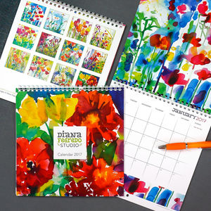 2017 Watercolour Flowers Wall Calendar