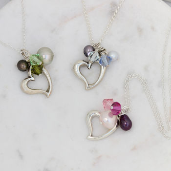 Silver Heart Necklace In Many Colours