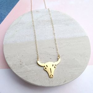 24k Gold Plated Bull Skull Necklace