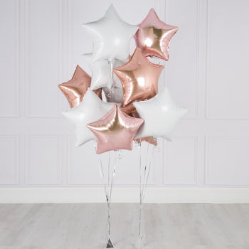 Inflated 10 Rose Pink And White New Baby Foil Balloons