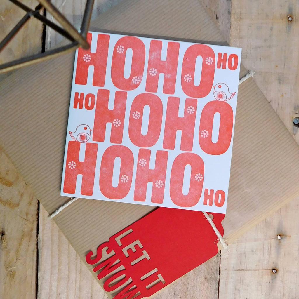 handmade letterpress ho ho ho christmas card pack by allihopa ...