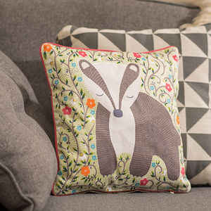 Dreamy Badger Cushion - children's room