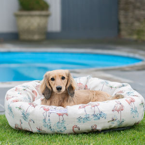 Flamingo Linen Dog Beds