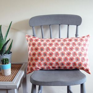 Small Rectangle Red Dandelion - cushions