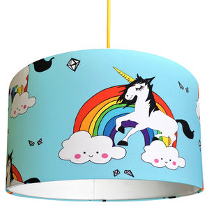 Unicorn Guy Handmade Lampshade In Aqua