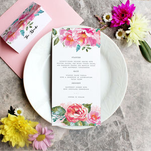 Pink Watercolour Peonies Wedding Placesetting Menus
