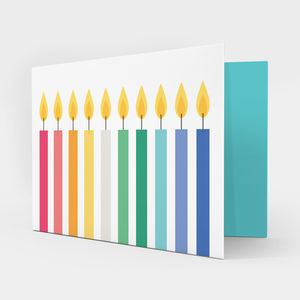 Multicoloured Candles Birthday Card - birthday cards