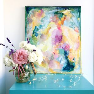 Colourful Abstract Canvas Painting Neon Florals - modern & abstract