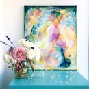 Colourful Abstract Canvas Painting Neon Florals