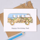 Personalised Map Vw Campervan Birthday Card