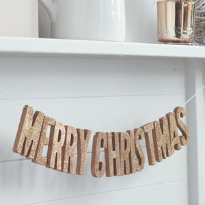 Merry Christmas Rose Gold Glitter Wooden Bunting