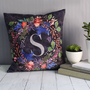 Personalised Wreath Christmas Cushion - living room