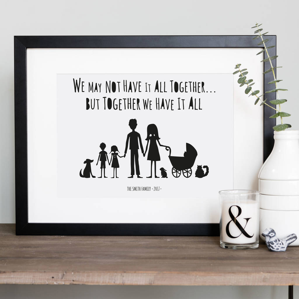 My Family And Other Animals Personalised Print In Mount By