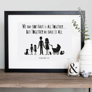 My Family And Other Animals Personalised Print In Mount - gifts for families