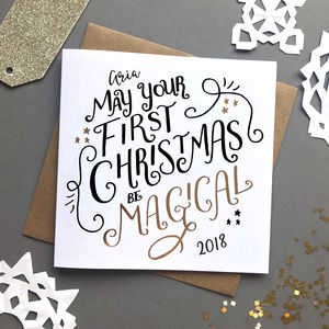Personalised Foiled Magical First Christmas Card - first christmas cards