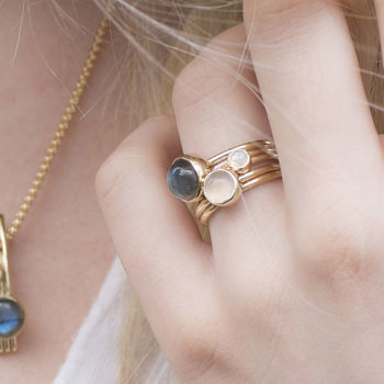 Solid Gold Labradorite Frozen Stacking Rings