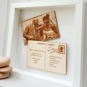 Personalised Anniversary Wooden Postcard