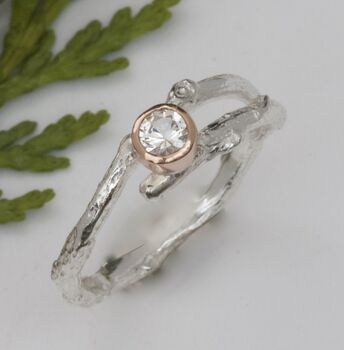 Handmade Silver And Rose Gold Woodland Twig Ring
