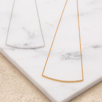 Sparkling Bar Necklace With Slider Clasp