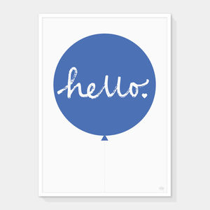 Hello Balloon Print Blue - vibrant blues