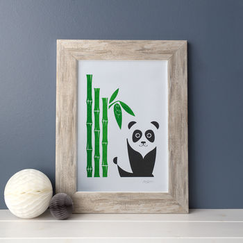 Panda And Bamboo Wall Art Riso Print