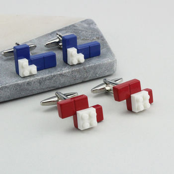 Blue Or Red Building Brick Cufflinks